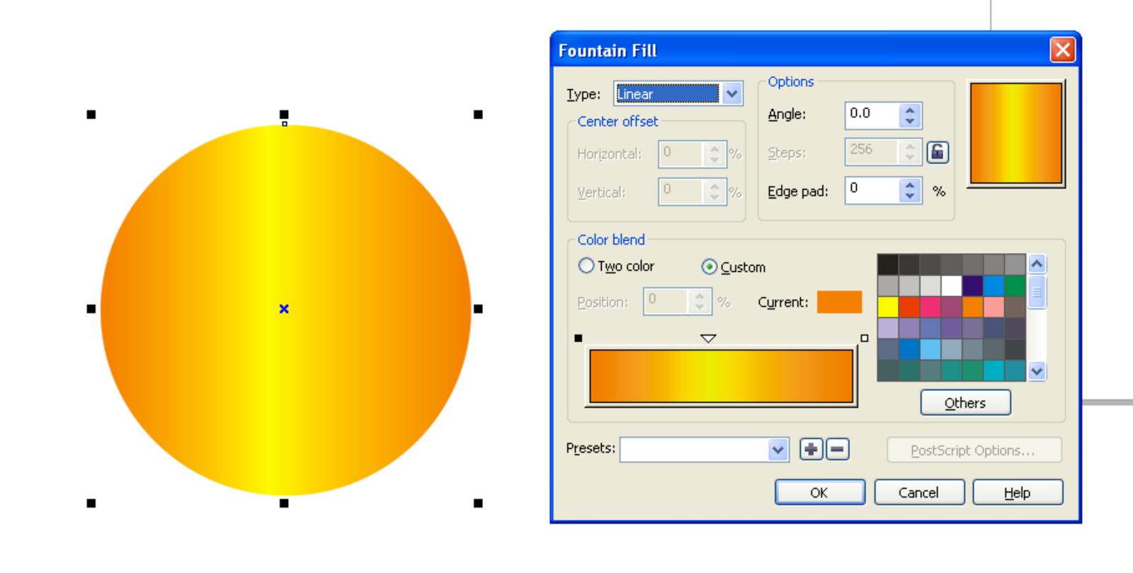 Buat Lingkaran ukuran 97 mm x 97 mm dan beri warna kombinasi kuning ...