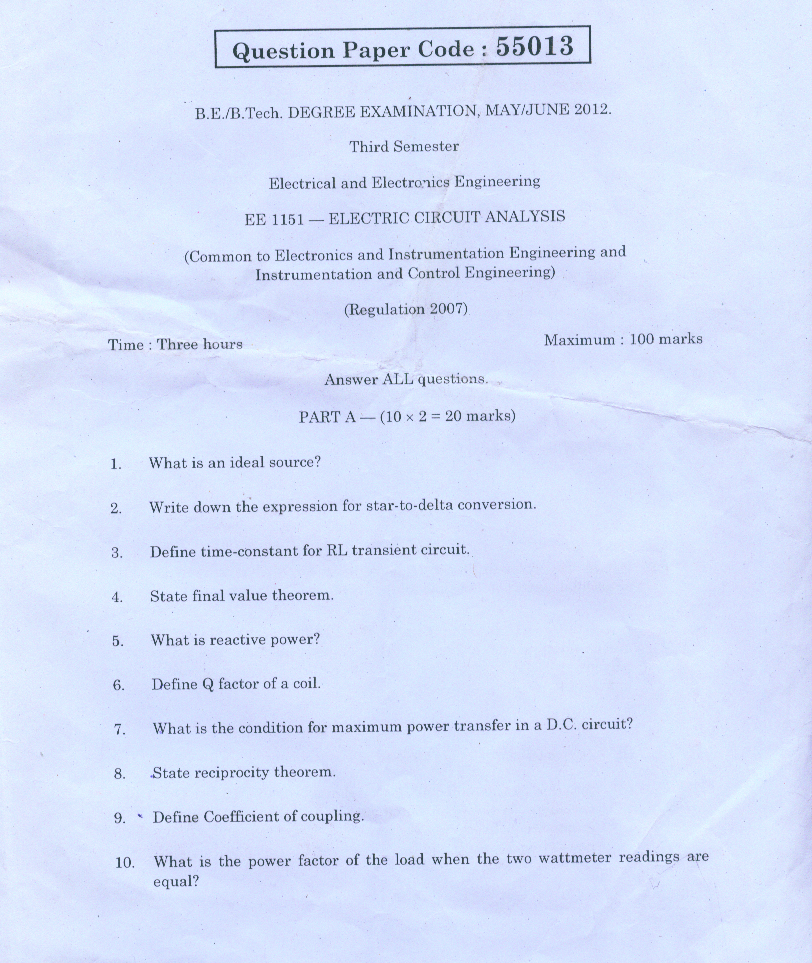 ELECTRIC CIRCUIT ANALYSIS MAY/JUNE 2013 ANNA UNIVERSITY QUESTION PAPER