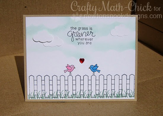 Grass is Greener Garden Fence card by Crafty Math Chick | Garden Whimsy | Garden Stamp Set by Newton's Nook Designs