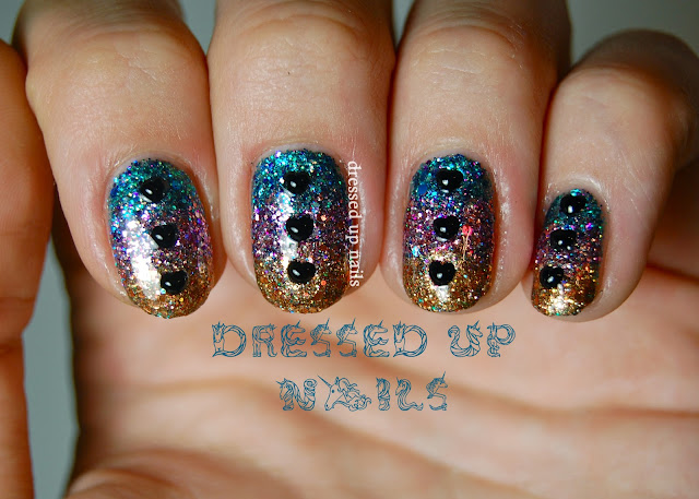 Dressed Up Nails - tri-color glitter gradient with Shimmer Polish and heart rhinestones