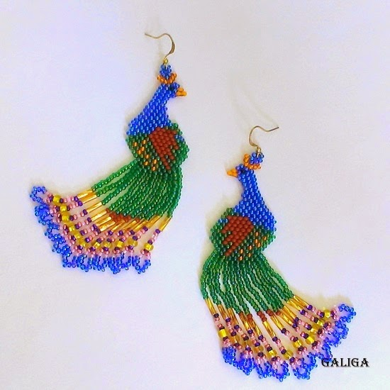 Peacock seed bead earrings-beadwork jewelry-peacock bird earrings-blue green earringes with fringe