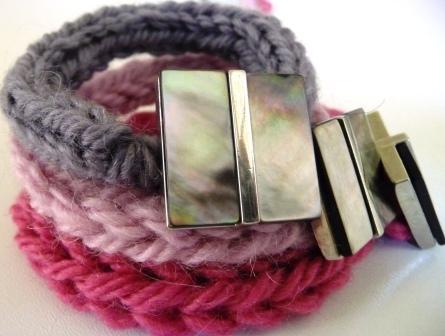 braccialetti lana uncinetto ferri tricotin