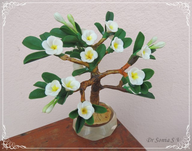 Clay Frangipani Bonsai Tree
