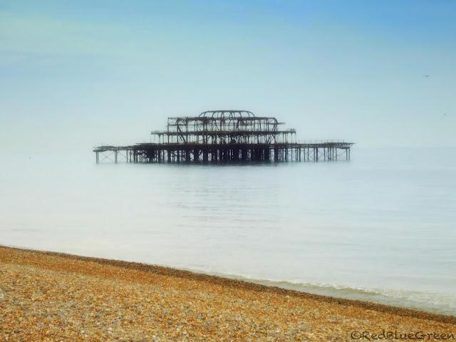 photo of burnt West Pier at Brighton seaside