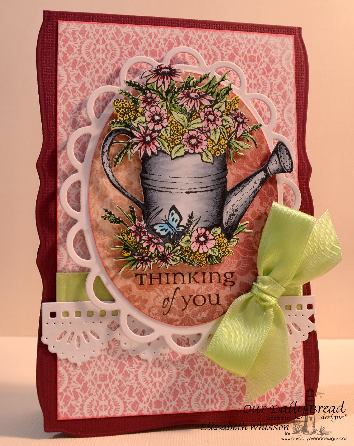 Elizabeth Whisson, Our Daily Bread Designs, Watering Can, ODBD Watering Can Die, All Occasion Sentiments, ODBD Beautiful Borders die, Heart and Soul Collection, thinking of you, flowers, handmade card, copics, Copic markers, copic