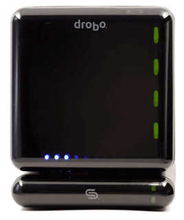 Old 4-drive Drobo sitting on top of DroboShare