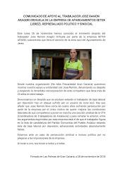 Mensaje de apoyo a José Ramón, despedido por Setex Aparki en Jerez de la Frontera, emitido por No M