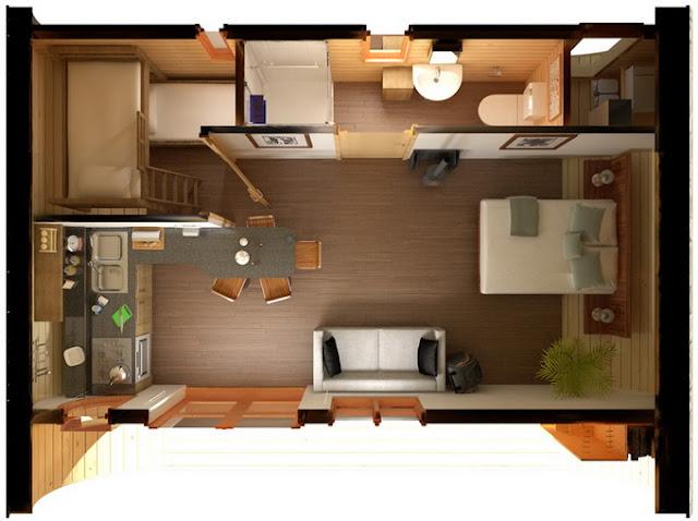 Ванная комната в компактном овальном доме