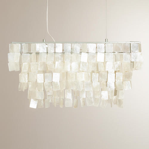 COST PLUS WORLD MARKET RECTANGULAR NATURAL CAPIZ HANGING PENDANT LANTERN