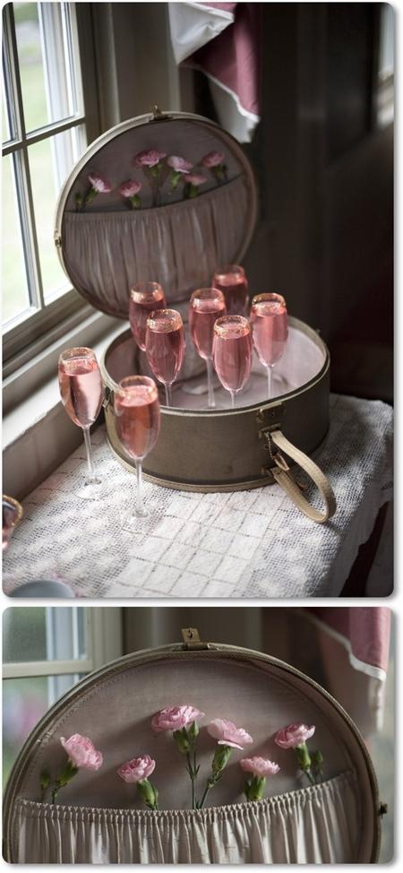 pink champagne, blommor i hattask, blommor till alla hjärtans dag, alla hjärtansdag