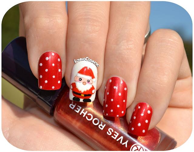 Papa noel uñas manicura manicuras navideñas santa claus nails 2015 2016 freehand cute kawaii yvesrocher nailart nails manicute  lovingcosmetic