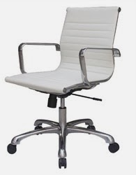 Joplin Modern White Leather Office Chair by Woodstock