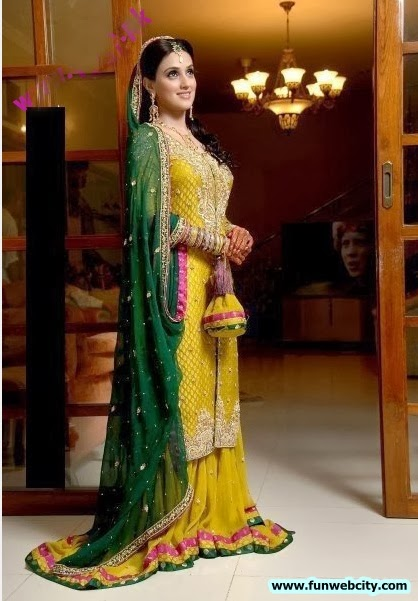 New pakistani indian mehndi dresses 2012 2013 fashion for Pakistani wedding mehndi dresses