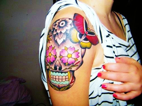Colorful Sugar Skull Tattoo for Girls