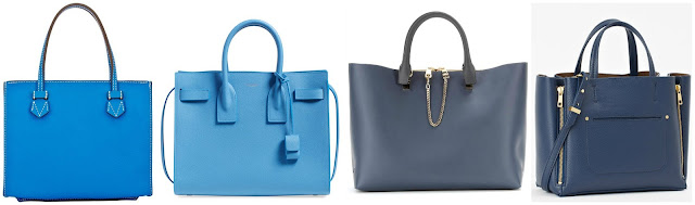 Three of these blue tote handbags are from designers for thousands and one is from Ann Taylor on sale for $90. Can you guess which one is the more affordable bag? Click the links below to see if you are correct!