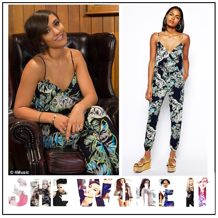 Black, Blue, Frankie Sandford, Graphic Print, Jumpsuit, Leaf Print, Multicoloured, Pocket Detail, Pockets, River Island, Sleeveless, Slim Leg, Tapered, The Saturdays, Tropical Print, V-Neck, White, Wrap Front, Yellow,