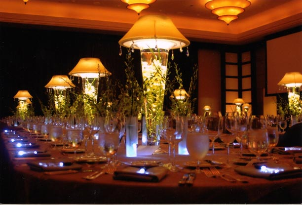 Pure dymonds events spandex lighted lampshade centerpieces
