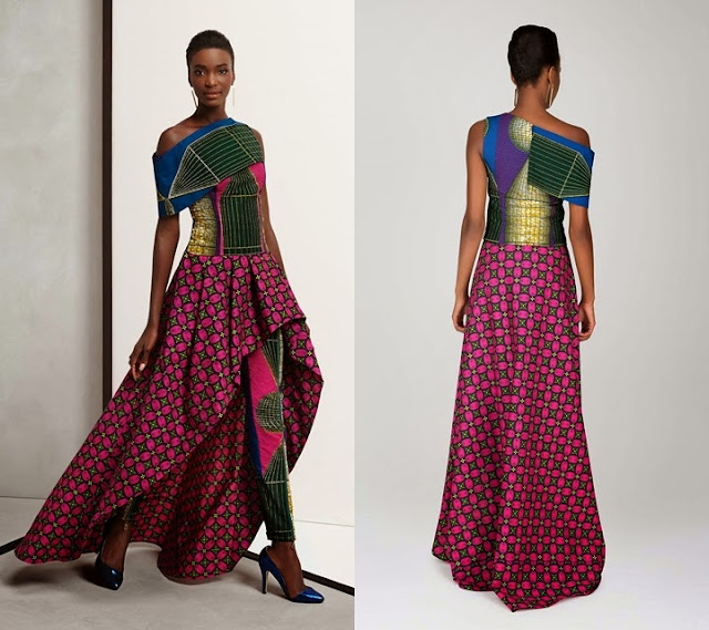 2015 Vlisco African print off shoulder dress with open front.