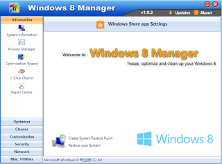 Free Download Windows 8 Manager 1.0.5 with Keygen Full Version