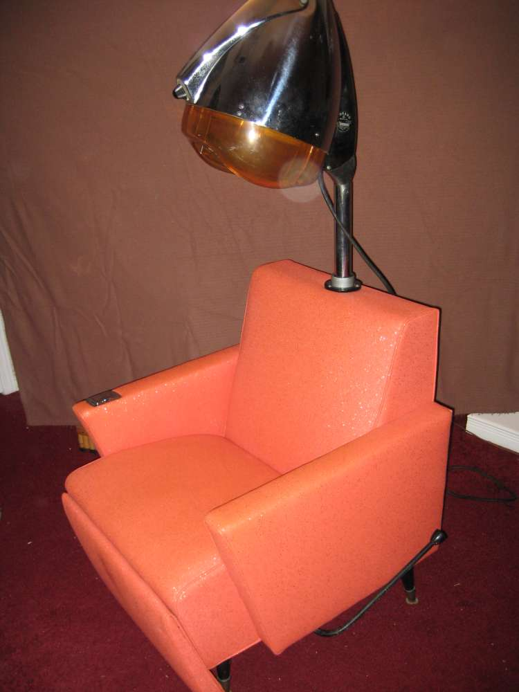 Incurlers a 1960s salon wetset - Salon chair with hair dryer ...