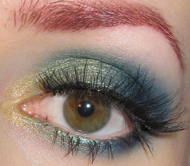 Glitter Is My Crack Gold Green And Blue Eye Makeup Look