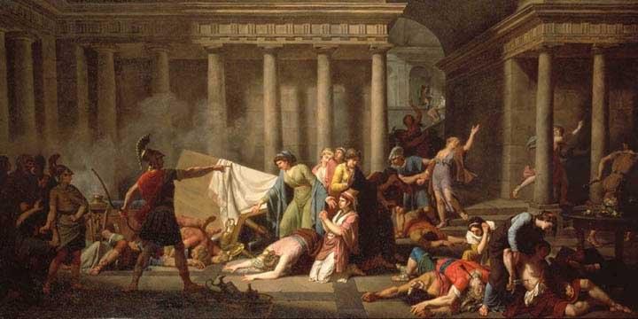 Ulysse ordonnant aux servantes d enlever les cadavres des pr  233 tendantsOdysseus And The Suitors