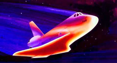 Shuttle Discovery: Artist impression of heat image at re-entry, tolerating temperatures as high as 1,6500 degrees Celsius. NASA, 2011.