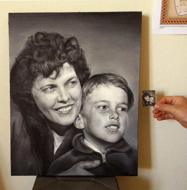 Old family photograph, restoration, painting, oil painting, mother son, art, commission