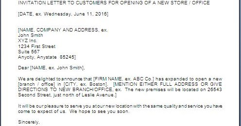 new branch opening invitation letter