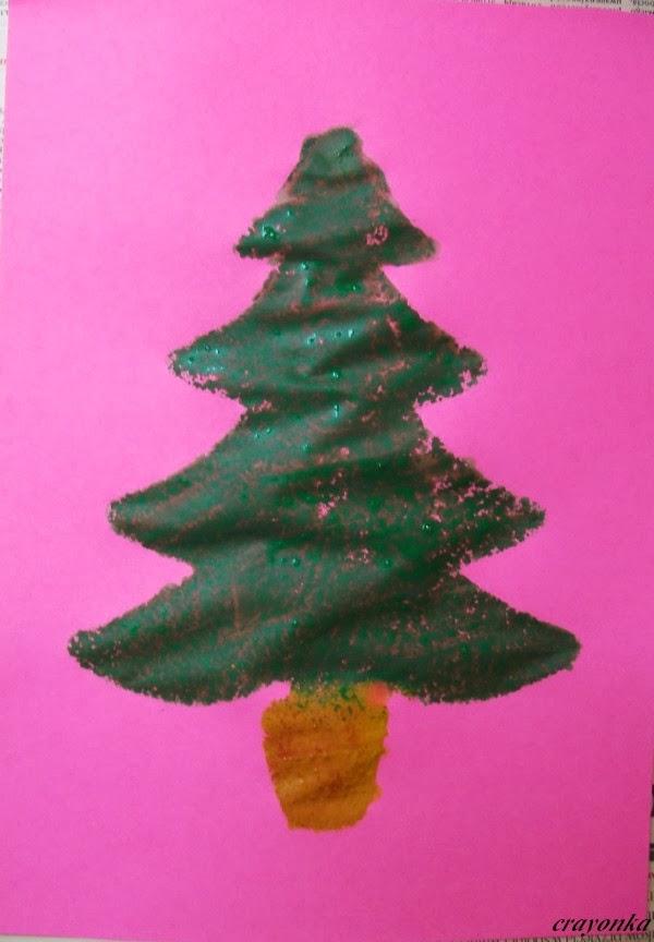 Prace plastyczne - Kolorowe kredki: Choinka z szablonu malowana ...