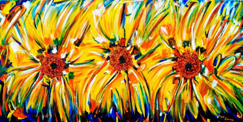 cuadros-abstractos-de-flores-girasoles