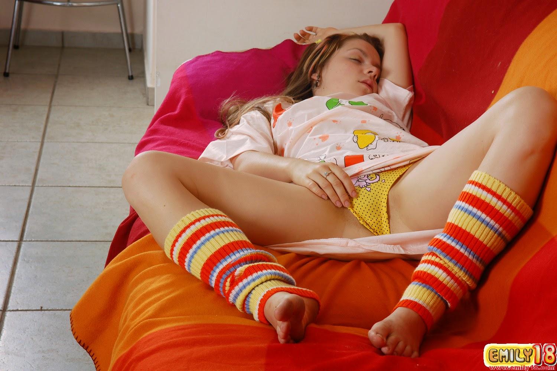 Adorable teen sluts pleasure one cock during movie night 3