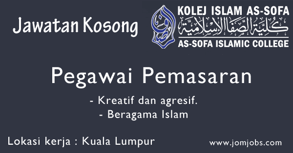 Jawatan Kosong Kolej Islam As-Sofa Ampang 2015