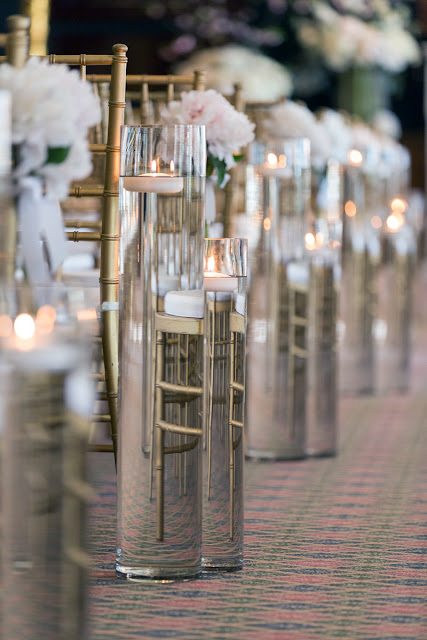 Candle lit wedding aisle
