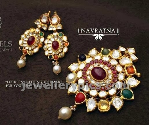 beautiful navaratna pendent set with earrings made with flat diamonds