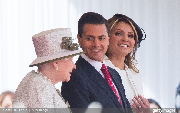 Queen Elizabeth II, Mexican President Enrique Pena Nieto and Angelica Rivera attend a ceremonial welcome for The President Of United Mexican States at Horse Guards Parade