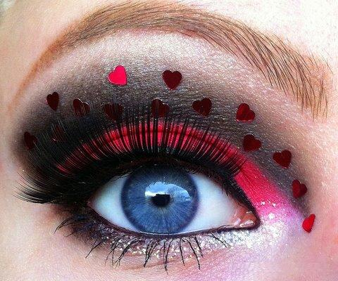 Little Pink Hearts Eye Makeup