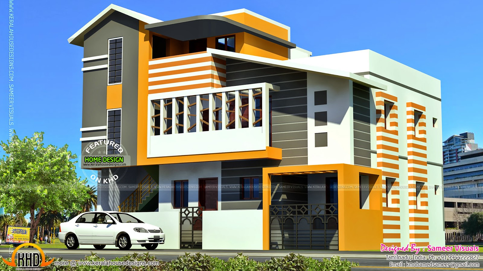 South indian contemporary home kerala home design for Outer decoration of house