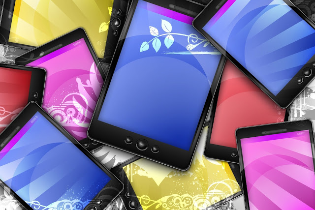 colourful cell phones and tablets