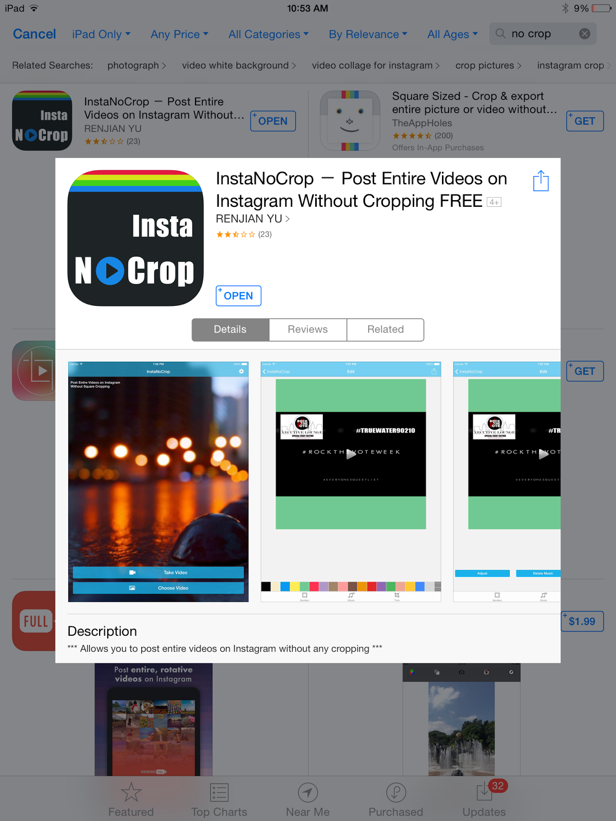 how to get of black border on instagram video