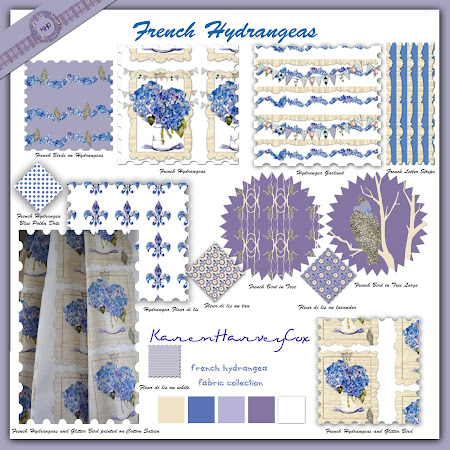 French Hydrangeas fabric collection