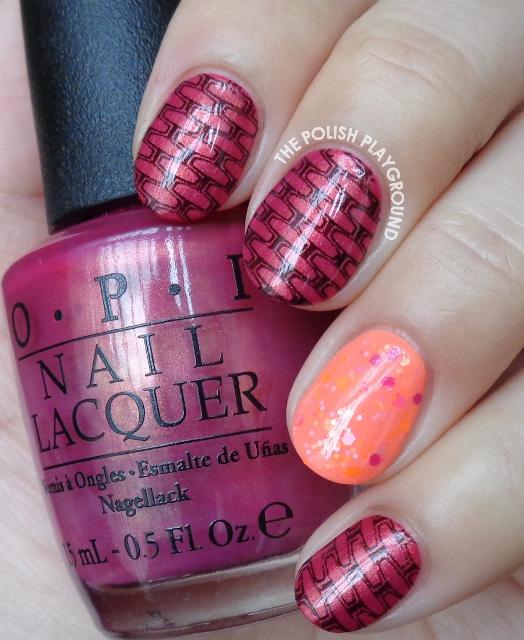 Rose and Black Brick Inspired Stamping Nail Art
