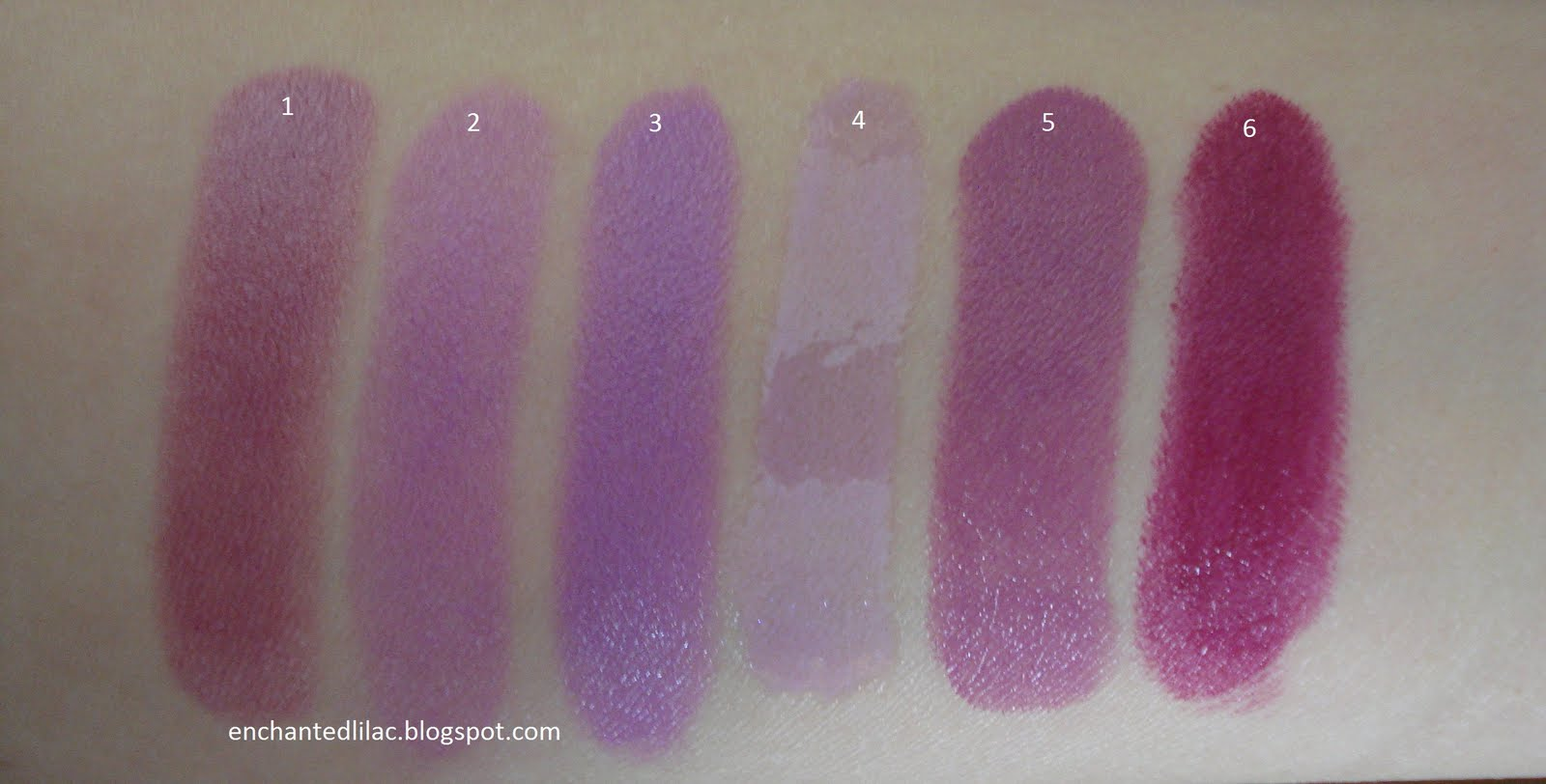 Enchanted Lilac: Purple Lipstick (and a gloss) Swatches
