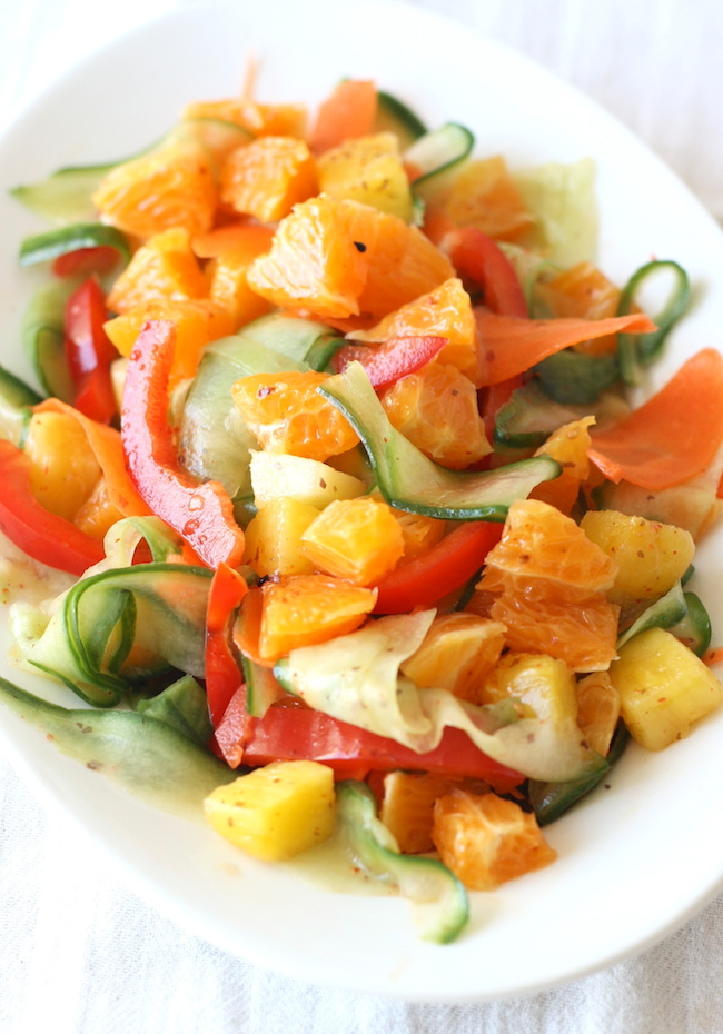 Sweet Orange and Pineapple Salad with Asian Citrus Dressing by SeasonWithSpice.com