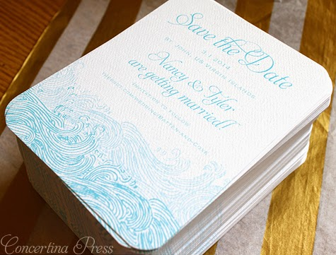 Waves Save the Dates for a Beach Wedding from Concertina Press