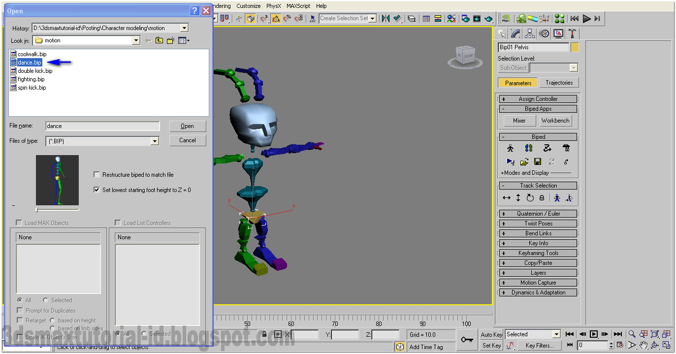 how to move biped in 3ds max
