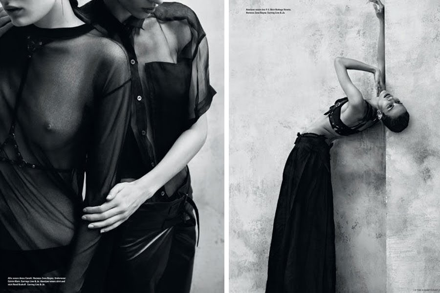 Alla Kostromiceva and Aymeline Valade by Josh Olins for i-D magazine