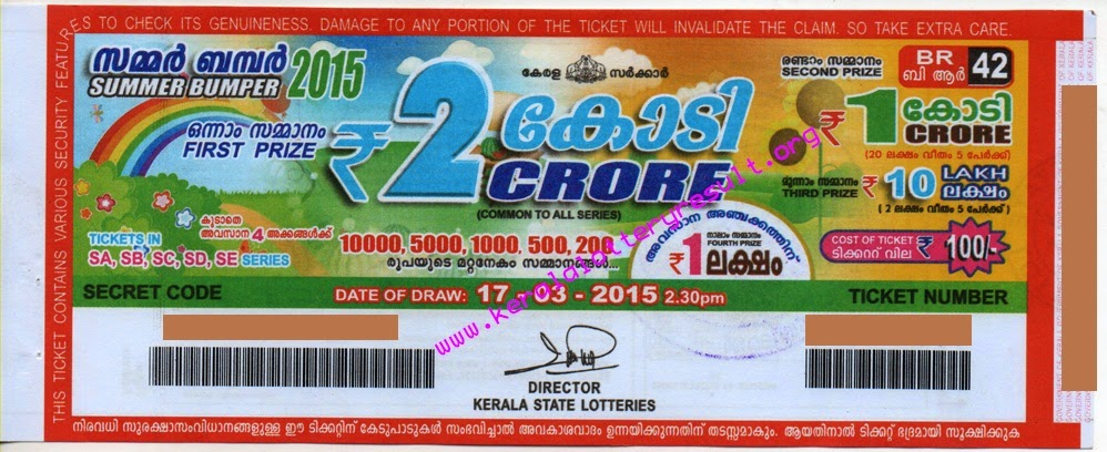 Summer Bumper 2015 BR-42 Kerala Lottery Result Prize Structure