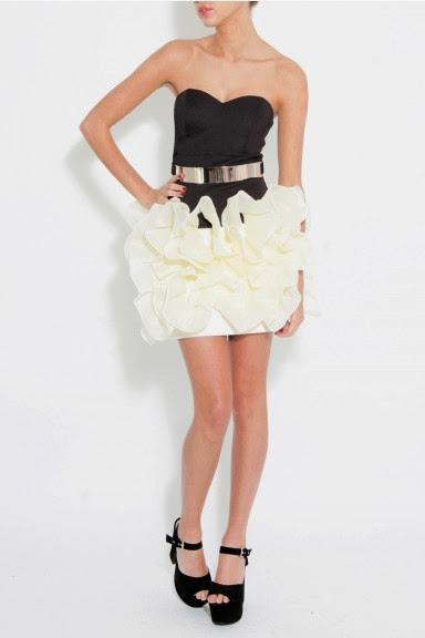 eteği kabarık siyah beyaz abiye modeli