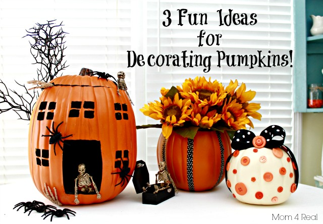 Foam pumpkins are great for DIY fall crafts because they last year after year. Jessica over at Mom 4 Real shares some foam pumpkin decorating tips
